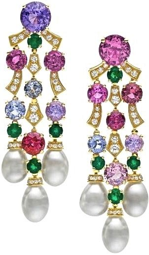 BVLGARI multi gemstone and diamond earrings, FABULOUS! love the color combo~: