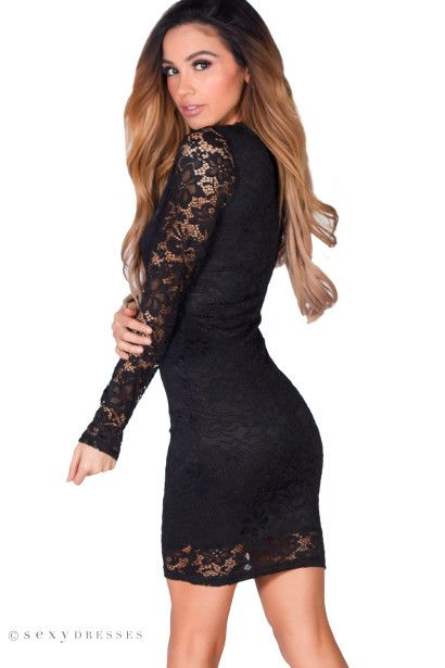 """""""Roxanna"""" Black Guipure Lace Long Sleeve Lace Up Cocktail Dress"""