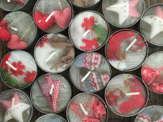 Cottage winter patchwork napkin on tea lights. Use a hotfix applicator with a small iron foot.