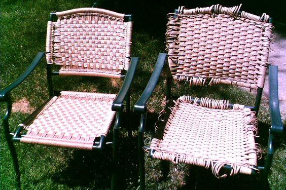 Macrame Reweaving Of Patio Chair Has Site For Vinyl