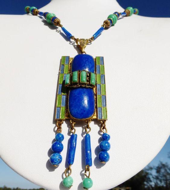 MAGNIFICENT Vintage Art Deco Blue Green Glass ENAMEL Czech NECKLACE 1920s