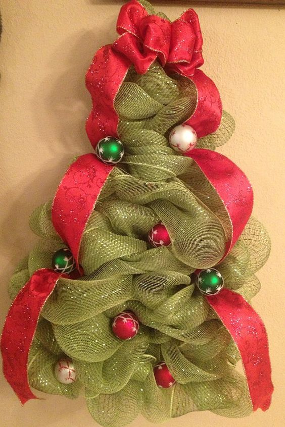Deco mesh Christmas tree wall hanging or door by DecoMeshbyCrystal