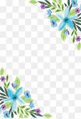 Free Download Watercolor Painting Flower Floral Design Water Color Blue Flower Border Png 2052 Free Watercolor Flowers Flower Border Png Watercolor Flowers
