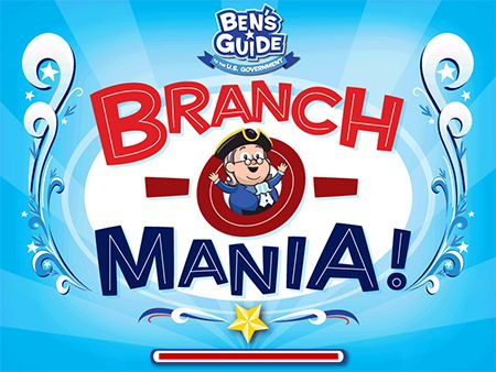 """Online game """"Branch-O-Mania"""" - Third Grade Civic/Government Understanding. [Standard: SS3CG1 - The student will explain the importance of the basic principles that provide the foundation of a republican form of government. B. Three branches in each.] This is an educational game for students to practice what they have learned about branches of the government."""