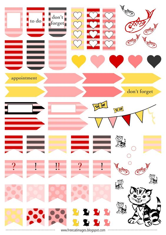 Free printable cats and fishes planner stickers filofax for Free fishing stickers