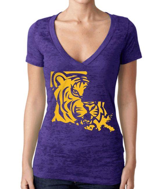 24 HOUR SALE LSU Tigers Football VNeck Womens by BuildingSix, $22.95