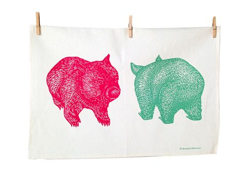 The Humble Tea Towel (Img: Wombat tea towel by Busaria Workshop)  www.madeit.com.au