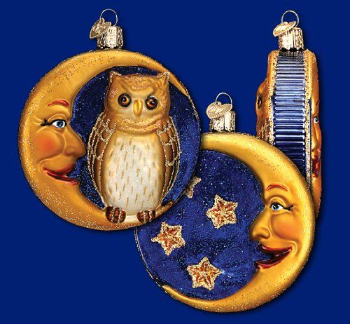 OWL & Crescent Moon Classic Vintage-style Halloween Ornament Old ...