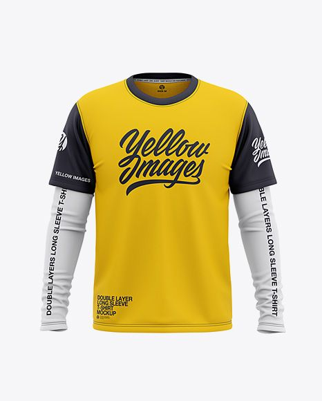Download Men S Double Layer Long Sleeve T Shirt Mockup Front View In Apparel Mockups On Yellow Images Object Mockups Shirt Mockup Clothing Mockup Design Mockup Free
