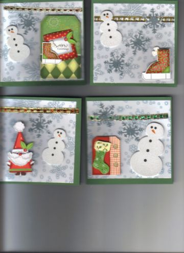 Christmas Card Set (3) - 4 Handcrafted Cards 4x4  by gardenfairie for $5.00