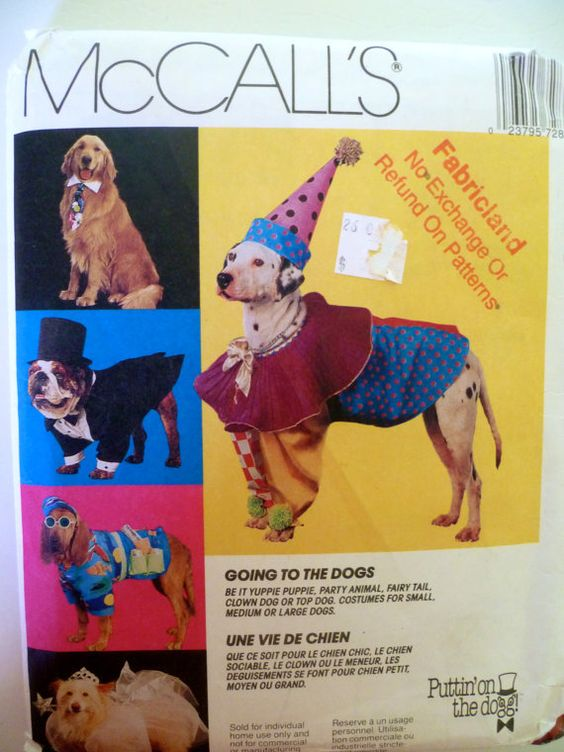 Dog Costumes Size S to L McCalls 7286 UNCUT by PatternMatters, $12.00