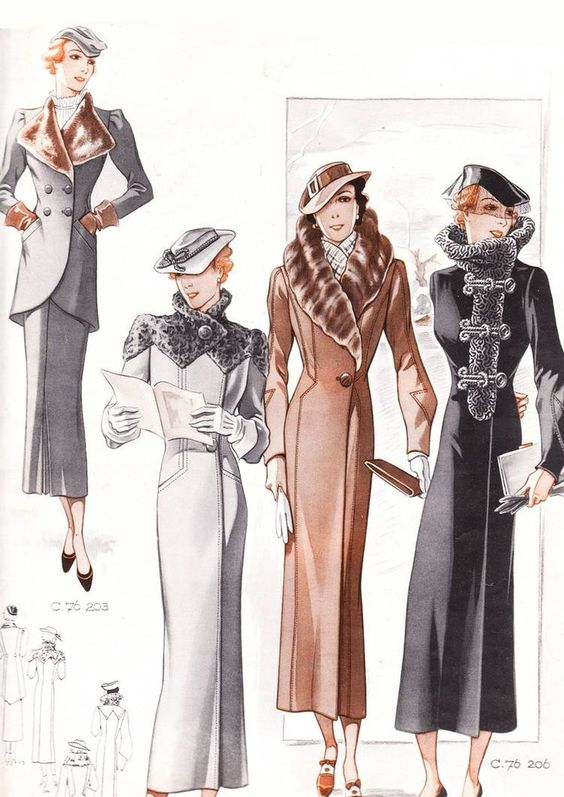 coat designs from the 1930's. There was a lot of emphasis ...