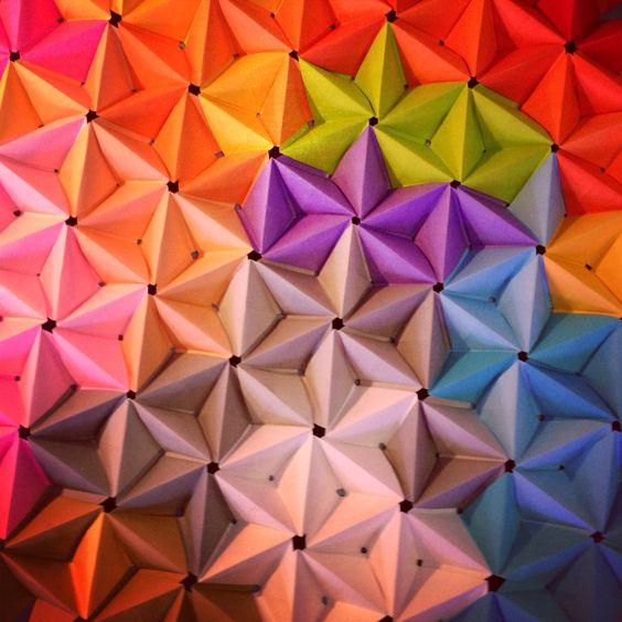 3d origami. Modular origami wall art.