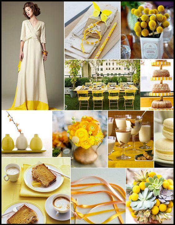 Yellow wedding inspiration. Love the craspedia in the vintage tin! http://girlyinspiration.com/