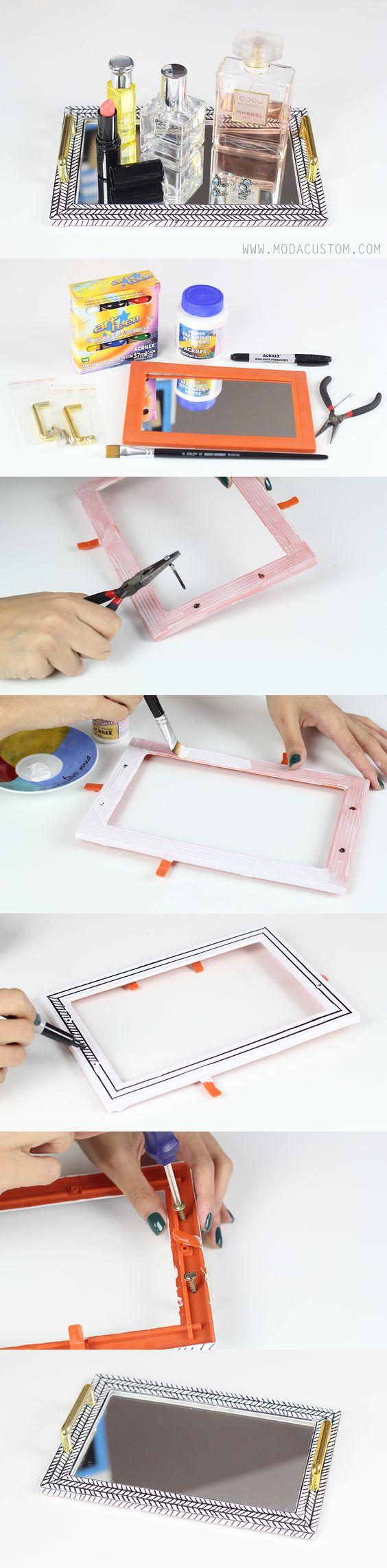 Vídeo no blog: http://www.modacustom.com/2015/09/tutorial-bandeja-de-espelho-decorativa.html: