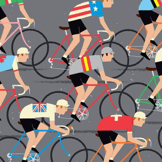 Large Bike Art Cyclists of the World Bike Poster 50 x 70 by gumo