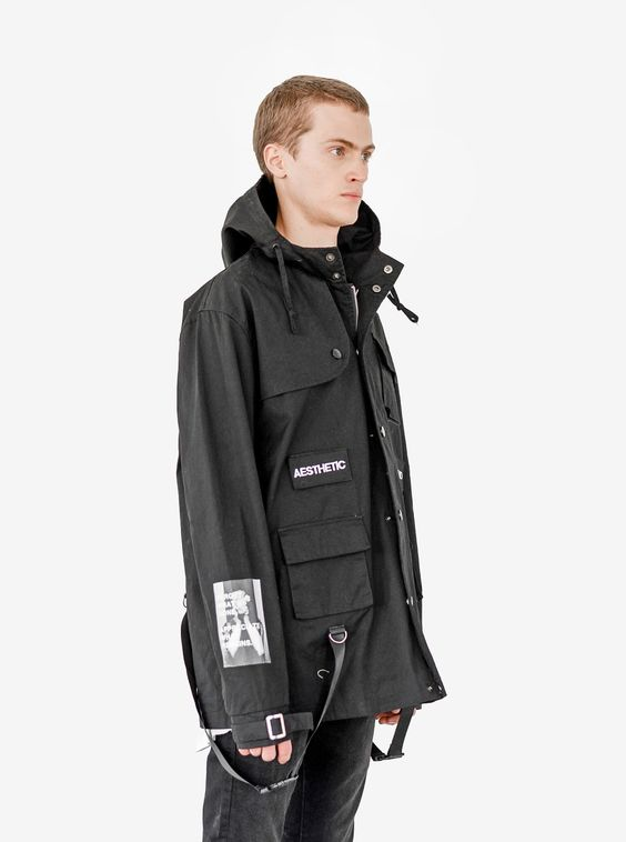 Profound Aesthetic Cargo Belt Graphic Jacket in Black. Flight Through the Gardens Spring Summer 2016 Collection. http://profoundco.com