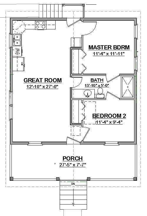 Affordable House Small Home Blueprints Plans 2 Bedroom Cottage 784 Sf Pdf 39 99 Picclick Cottage Floor Plans House Floor Plans Building Plans House Small house design plan pdf