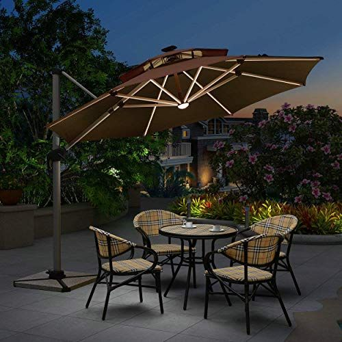 Buy Purple Leaf 11 Feet Double Top Deluxe Solar Powered Led Round Patio Umbrella Offset Hanging Umbrella Outdoor Market Umbrella Garden Umbrella Terra Online Rectangular Patio Umbrella Patio Freeport Park