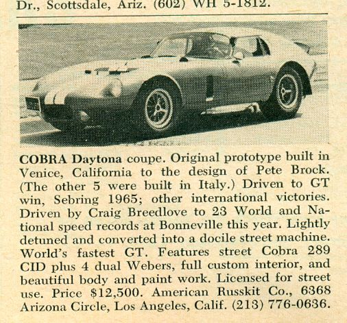 Dec 1966 Road & Track classified ad