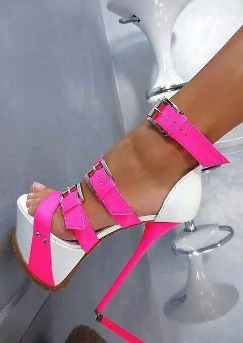 White and neon pink platform heels shoe addict | POLE