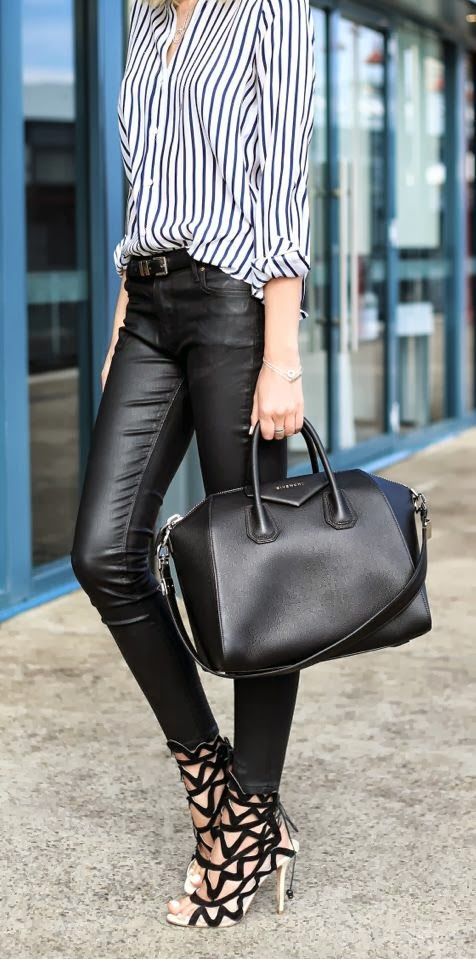 Stripes Shirt With Leather Jeans and High Heels