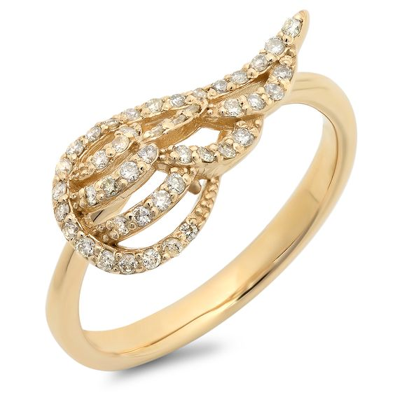 Gorgeous angel wing ring made of 14k gold weighing approximately 3.0 grams with 46 round diamonds (0.26 ct). Choose from yellow, white or rose gold. Matching earrings and necklace also available. Check out the collection in our shop and collect them all.  https://www.etsy.com/listing/202910125/gorgeous-angel-wing-ring?ref=shop_home_active_10