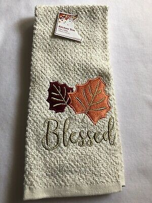 Kitchen Towel Embroidered Leaves Bone