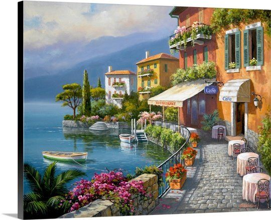 Seaside Bistro Cafe Sung Kim Painting Print Cafe Wall Art Mediterranean Paintings Cafe Art
