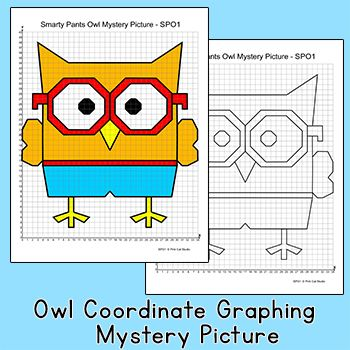 Coordinate Graphing Mystery Picture Four Quadrants Pink Cat Studio Owl