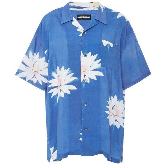 Double Rainbouu     Glossy Possy Short Sleeve Hawaiian Shirt (£130) ❤ liked on Polyvore featuring tops, shirts, print, hawaiian tops, pattern shirt, hawaiian print tops, short sleeve shirts and blue shirt