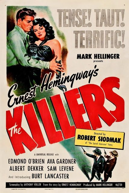 vintage noir movie poster | Movie poster for the film adaptation of Hemmingway's The Killers, 1946 ...
