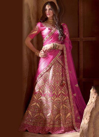 Pink Banarasi & Raw Silk Lehenga Choli Online ,Indian Dresses - 1