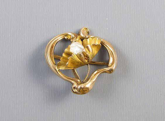 Antique Art Nouveau stylized heart 10k pearl by SundayandSunday