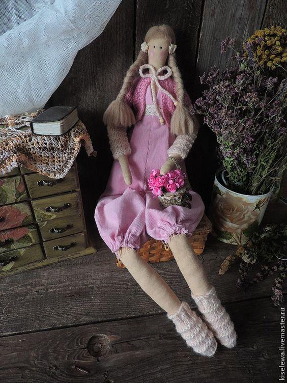 Купить Лиза текстильная интерьерная кукла Тильда. - розовый, тильда в подарок, тильда в розовом