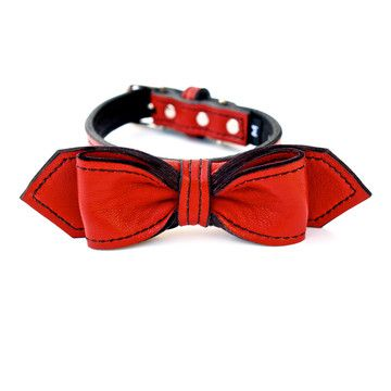 Bowtie Dog Collar XS-L Red now featured on Fab.