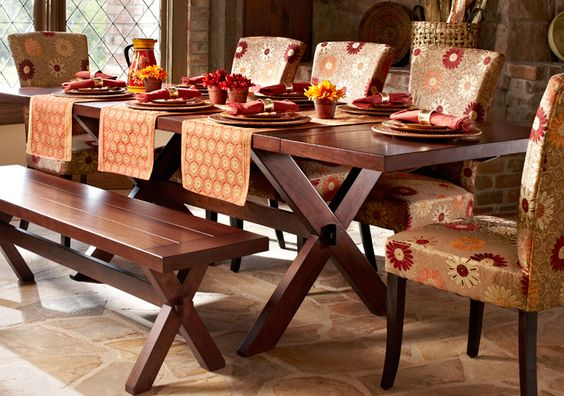 Extension Tuscan Brown Trestle Table Runners Chairs And