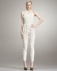 Great halter and lace. Womens White Lace Jumpsuit - Halter ...
