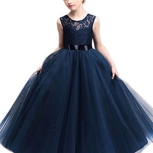 NNJXD Girl Sleeveless Lace Flower Party Tutu Princess Tul...