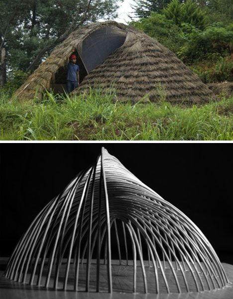 Deformed Dome: Bamboo Hut Builds on a Modeling Mistake: