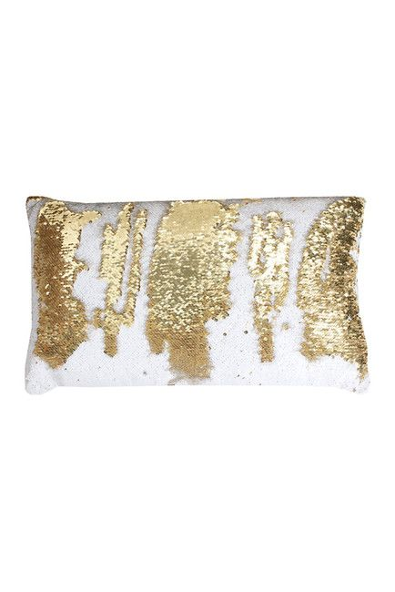 Melody Mermaid Reversible Sequin Oblong 12x20 Pillow - White/Gold