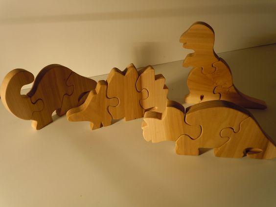 Set of Four Dinosaur Puzzles fully cusomtizable. $20.00, via Etsy.