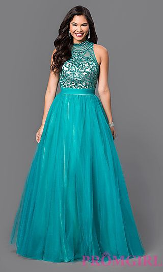 High Neck Teal A-Line Dress with Beaded Top at PromGirl.com