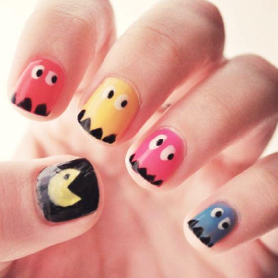Pac Man Nail Art!! So fun :D
