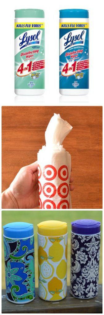 Turn an old wipe container into a disposible bag container or just cover the brand label of the wipes before hand