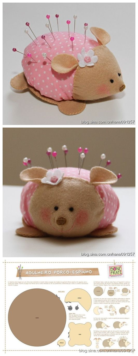cute pin cushion. The blog has so many cute ideas, but it's in Chinese so I can't read it. I finally found this tutorial on page 19: