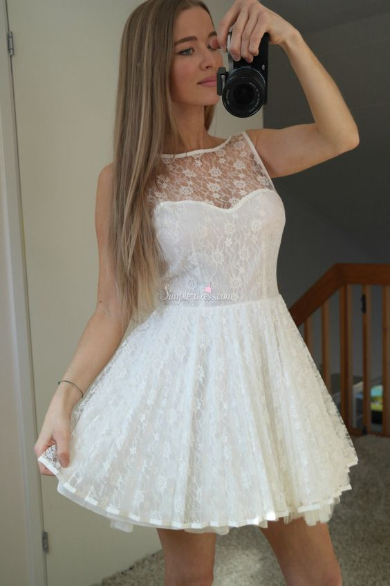 Pretty Short White Sleeveless Lace Backless Short Homecoming ...