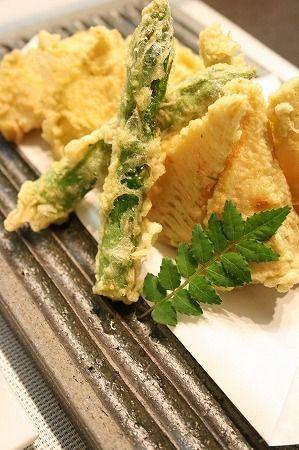 飯テロ・アスパラと筍天ぷら