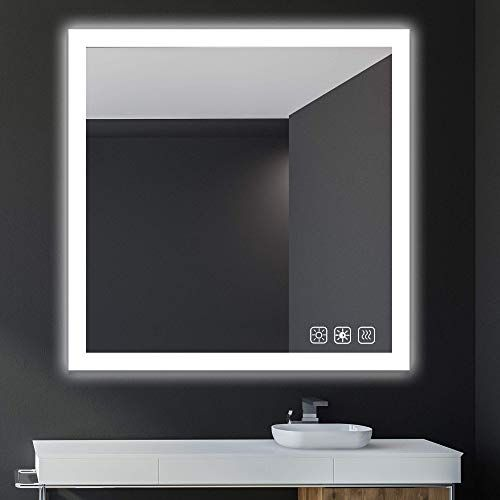 New Sl4u 38x38 Inch Led Dimmable Bathroom Wall Mounted Mirror Defogger Color Tone Adjustable Yellow Warm White Daylight Ysj A008 Online Chicprettygoods In 2020 Wall Mounted Mirror Backlit Mirror Mirror