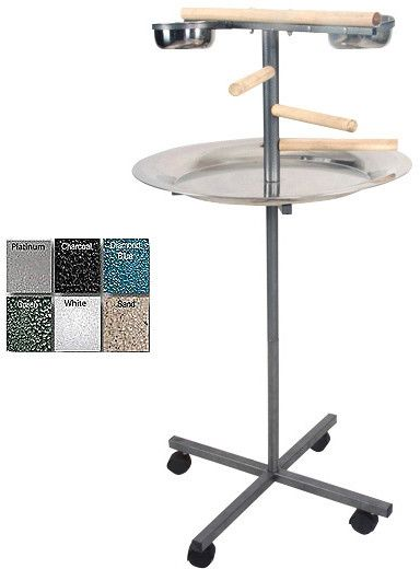 A&E Cage J13 Black 24x24x45 Round Play Stand with Wooden Steps